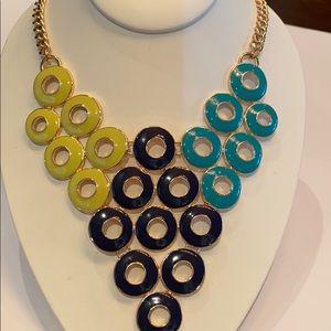 Jewelry - Multicolor statement bib necklace gold tone